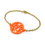 Monogram Bracelet in Acrylic - Gold Plated Chain