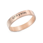 Engraved Name Ring - Hand Stamped Style with Rose Gold Plating
