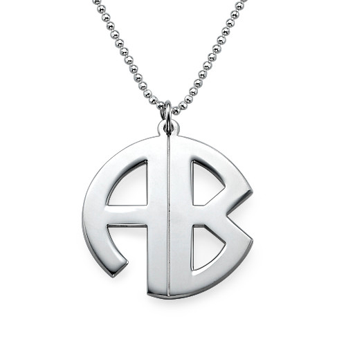 Personalised Silver Print Monogram Necklace - 1