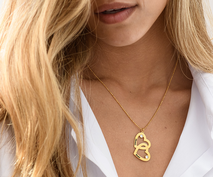 Heart in Heart Necklace in Gold Plating with Diamonds
