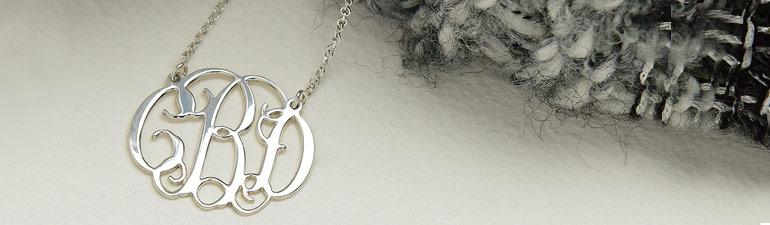 Silver Celebrity Style Monogram Necklace